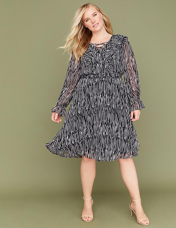 Zebra Print Lace-Up Fit & Flare Dress with Smocked Waist
