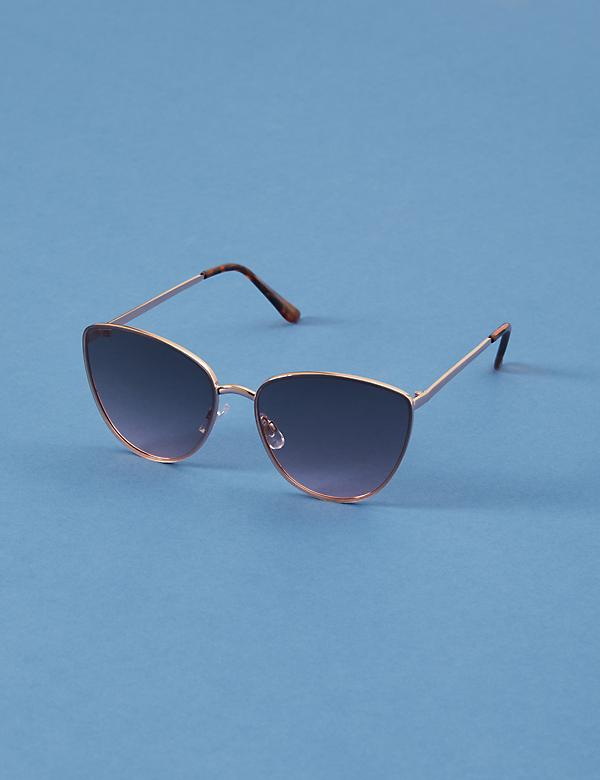 Metal Cateye Sunglasses with Ombre Lens