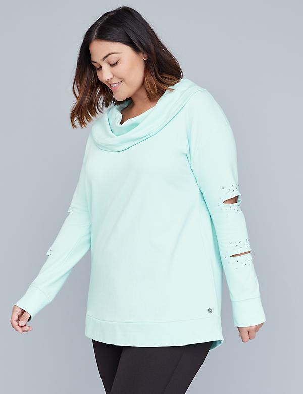 Cutout Sleeve Active Sweatshirt
