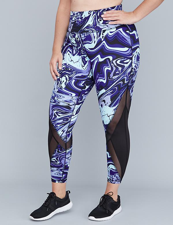 Wicking Active 7/8 Legging - Printed with Angled mesh