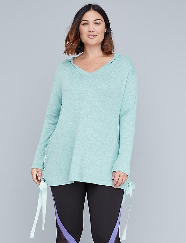 Hacci Lace-Up Active Tunic Top