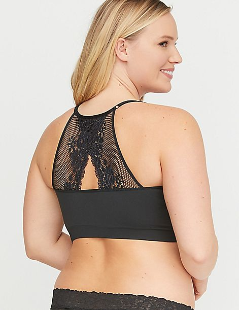 Seamless Bralette with Lace Racerback
