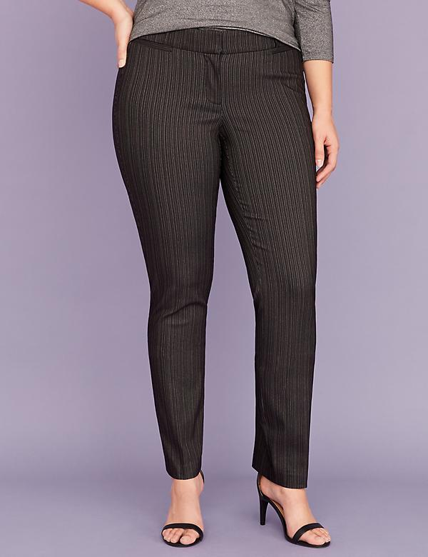 Allie Sexy Stretch Straight Leg Pant - Black Pinstripe