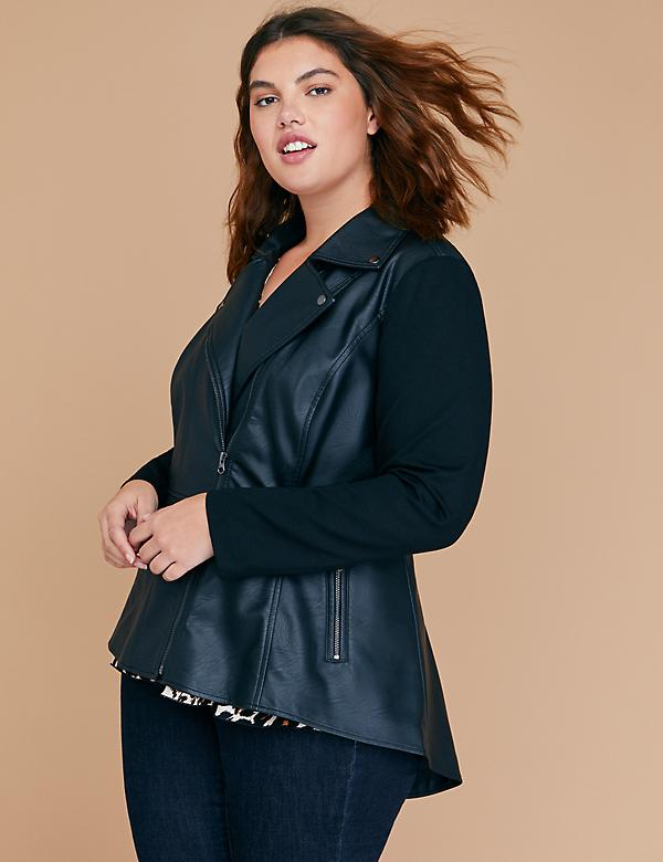 Faux Leather Peplum Moto Jacket with Ponte Sleeves