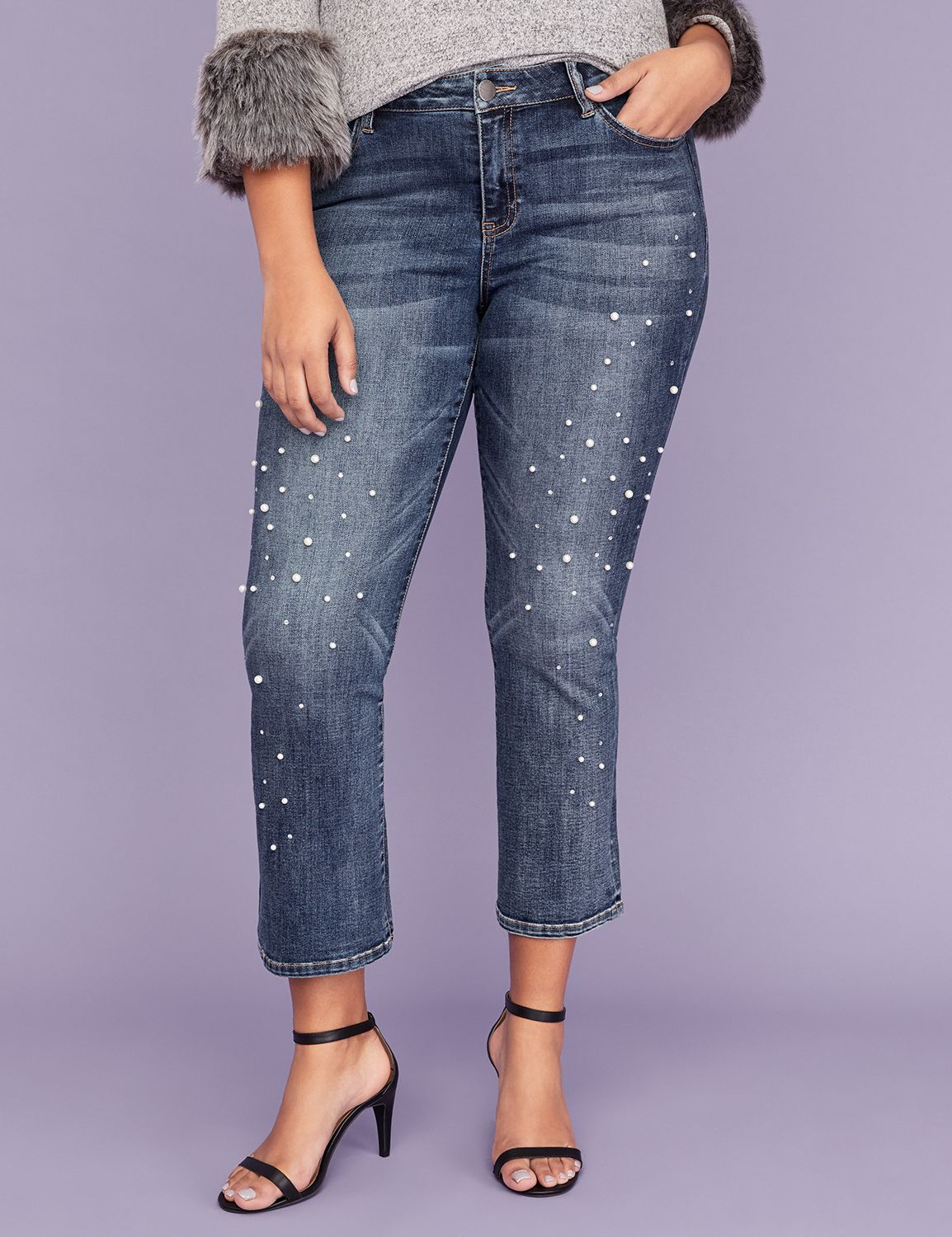 Petite Essential Stretch Kick Boot Jean - Pearl & Sparkle