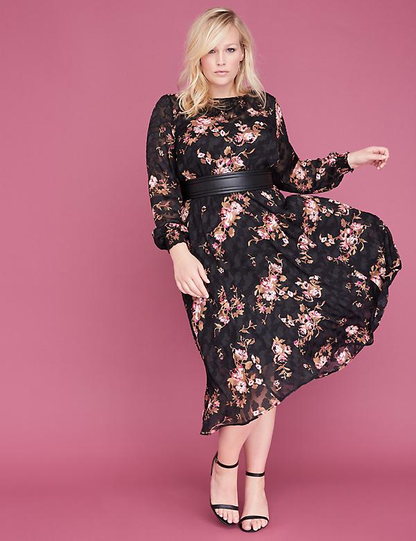 Floral Burnout Chiffon Midi Fit & Flare Dress