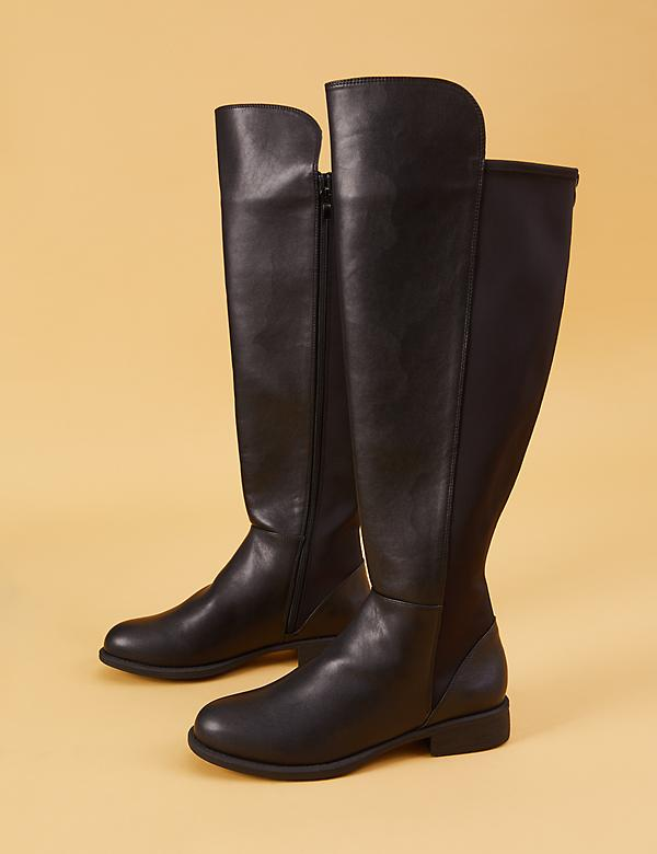 Faux Leather To-the-Knee Stretch Back Boot