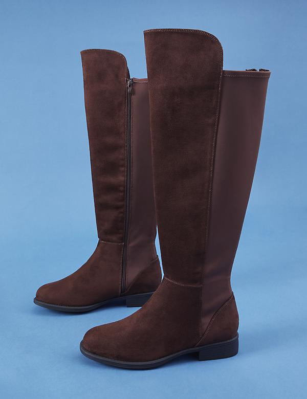 Faux Suede To-the-Knee Stretch Back Boot