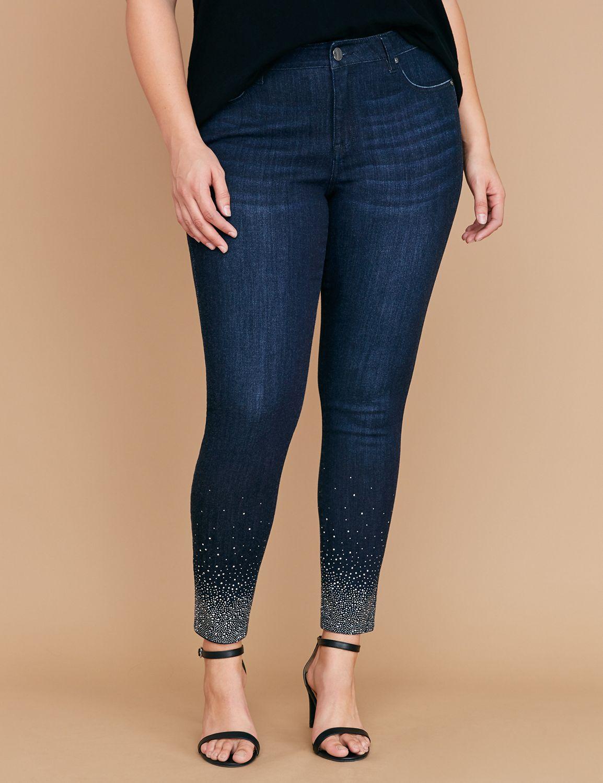 Super Stretch Skinny Jean - Gradient Sparkle Hem