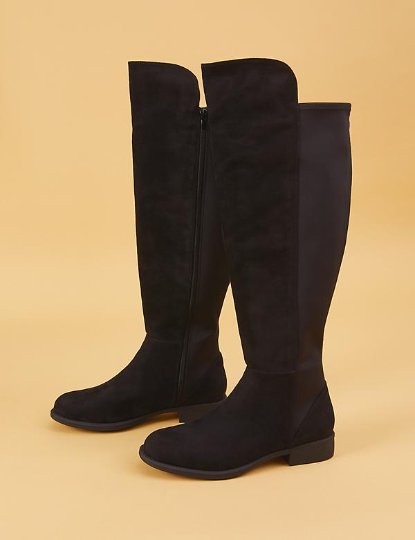 Faux Suede To-the-Knee Stretch Back Black Boot