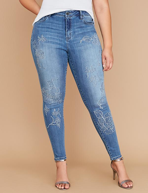 Super Stretch Skinny Jean - Embroidery & Sparkle