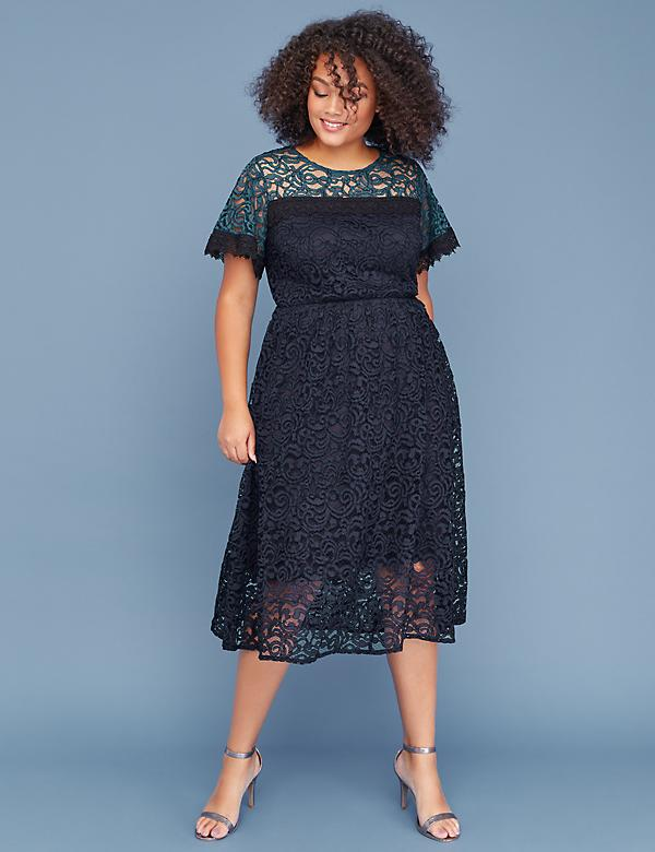 Colorblock Lace Midi Dress
