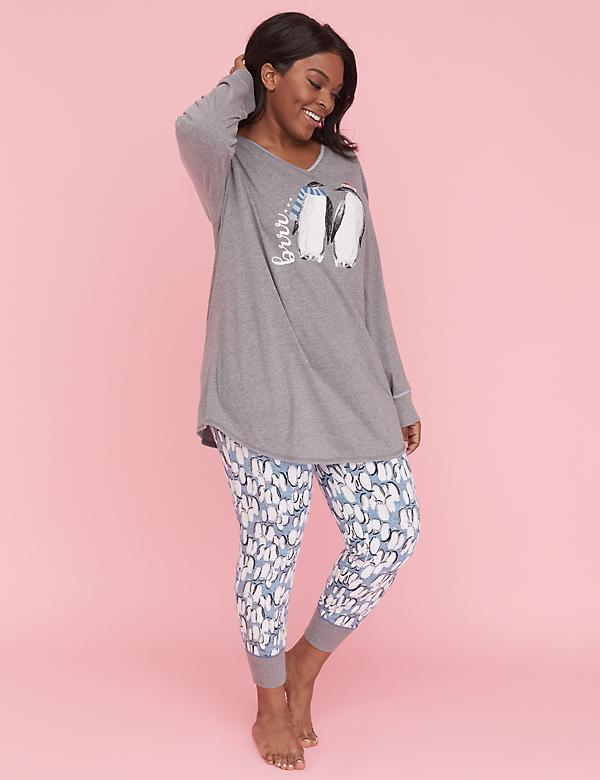 V-Neck Top & Legging PJ Set