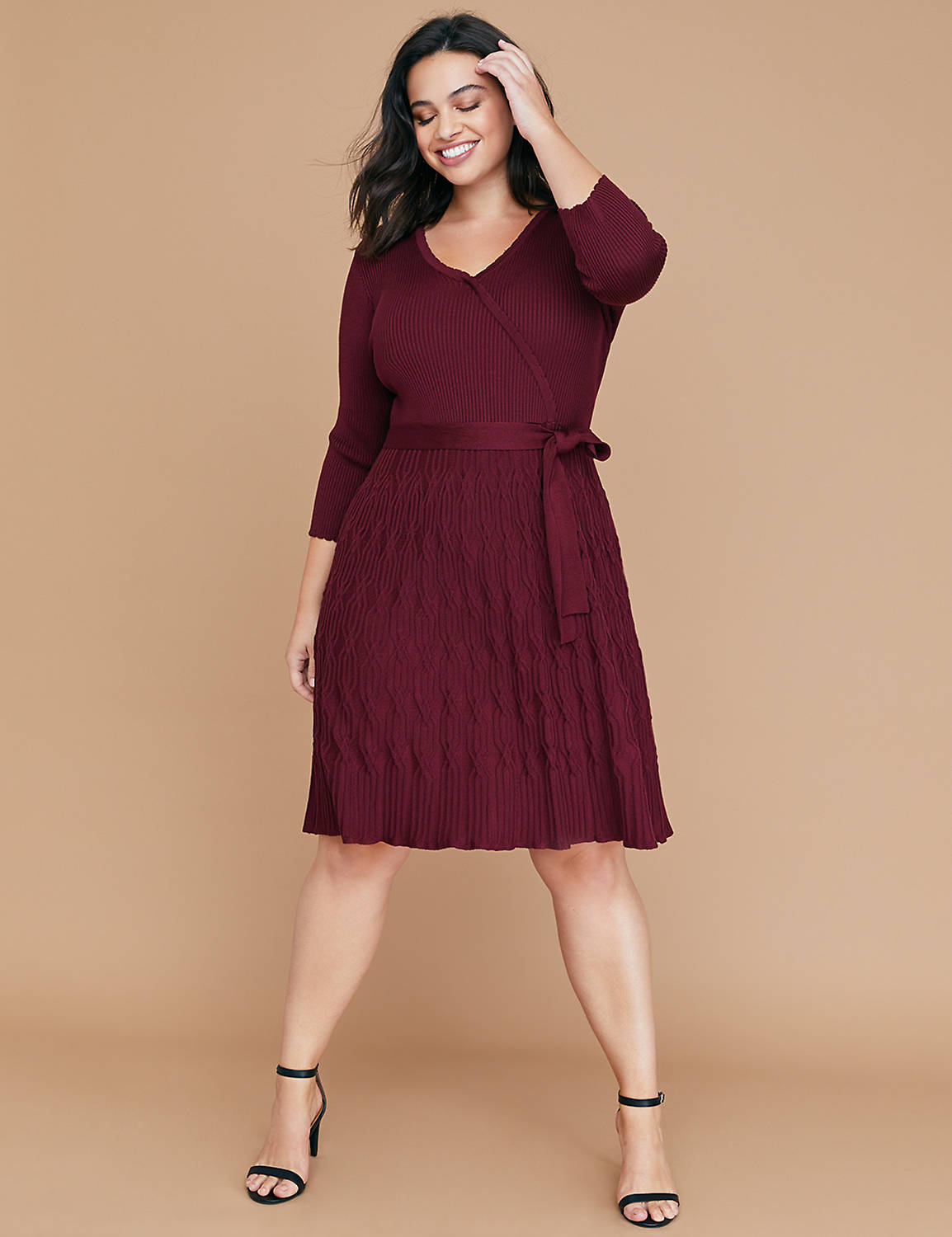 Mixed Texture Fit & Flare Sweater Dress
