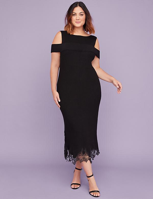 Off-the-Shoulder Sheath Sweater Dress With Lace Trim