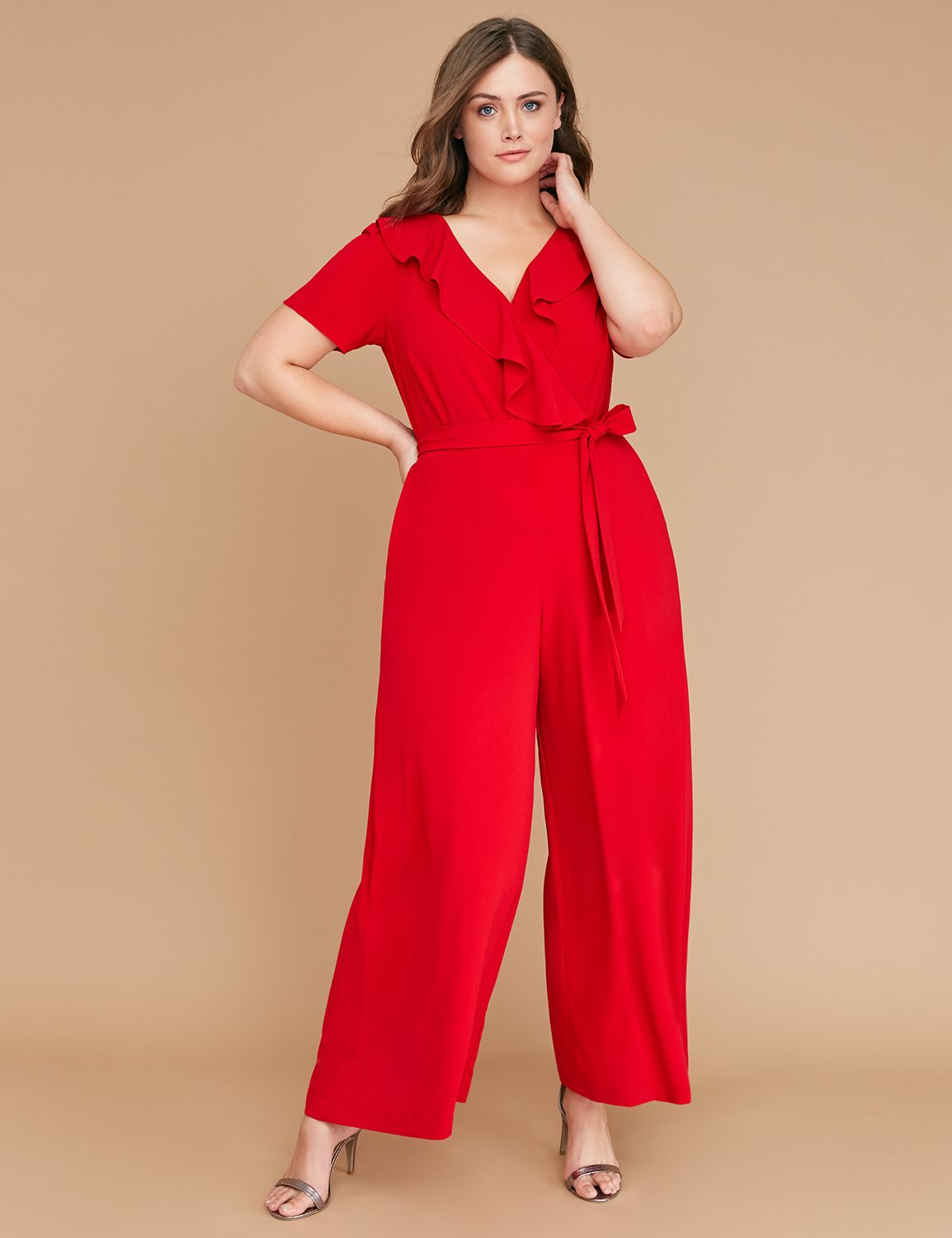 Vintage Christmas Dress | Party Dresses | Night Out Outfits Lane Bryant Womens Ruffle-Front Wide-Leg Jumpsuit 26 Venetian Red $70.99 AT vintagedancer.com