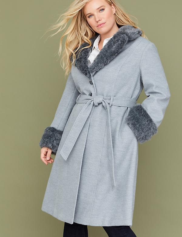 Gray Wrap Coat with Faux Fur