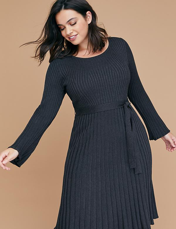 Bell Sleeve Fit & Flare Ribbed Sweater Dress