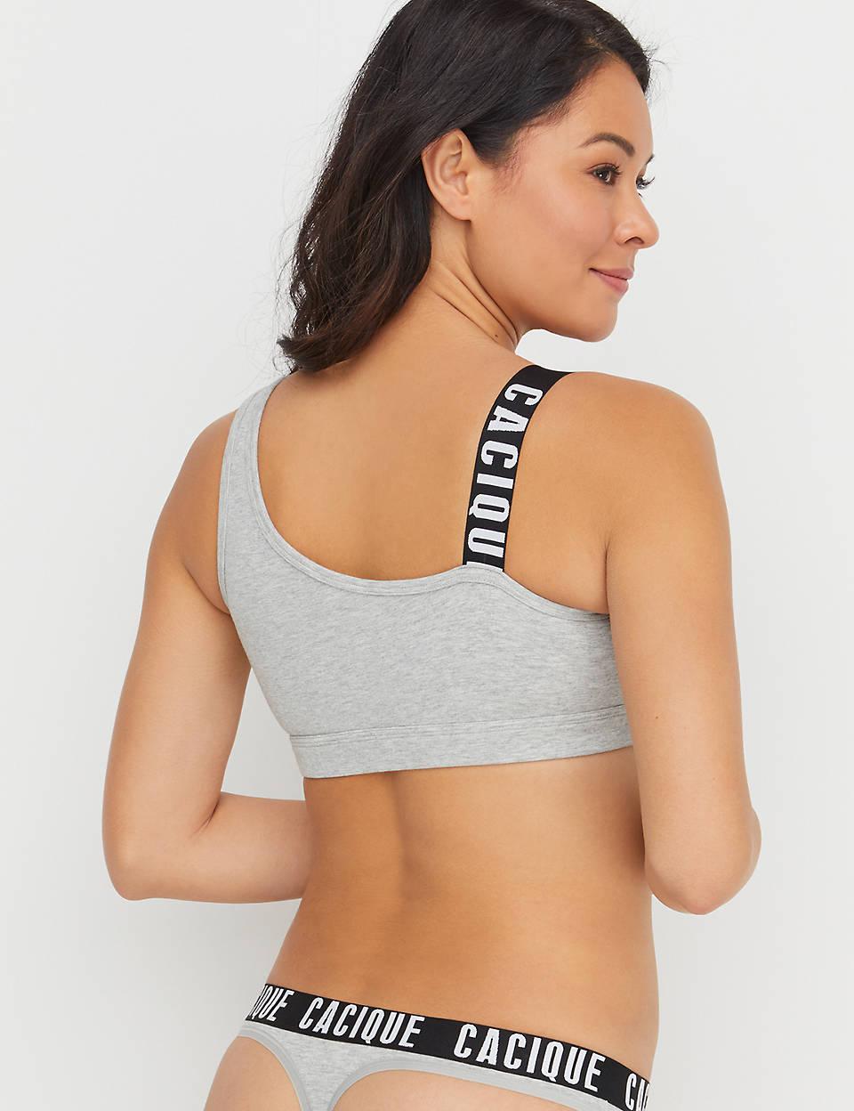 38814fc956f25 Cotton Bralette - Asymmetrical Logo Strap
