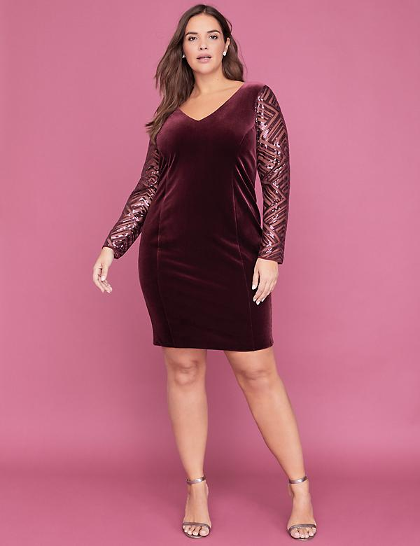 Sequin Double V-Neck Sheath Dress