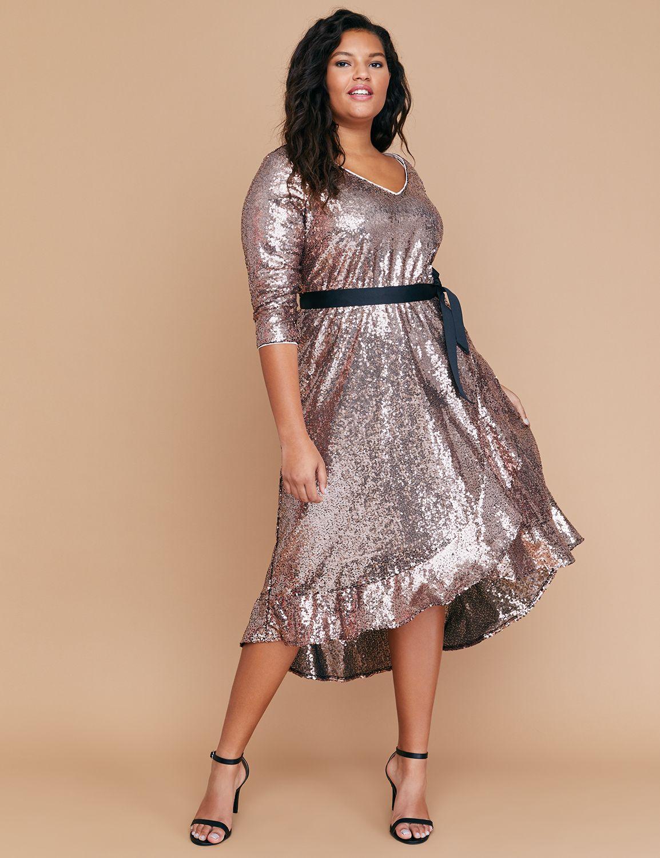 Petite Sequin Fit & Flare Faux Wrap Dress