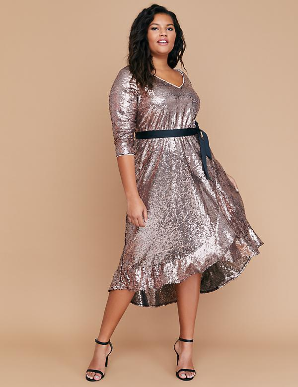 Sequin Fit & Flare Faux Wrap Dress