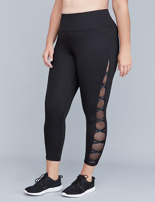 Sculpting Active 7/8 Legging - Lace-Up Dot Mesh
