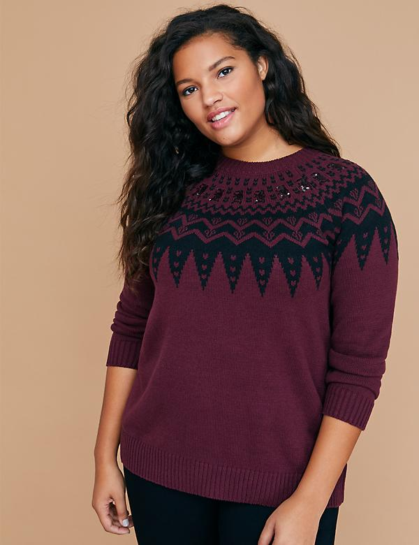 Fair Isle Sweater with Sequins