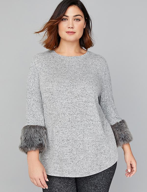 Hacci Top with Faux Fur Cuffs