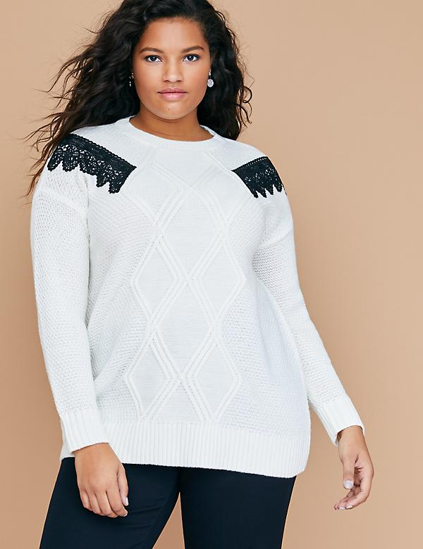Lace-Shoulder Cable Sweater