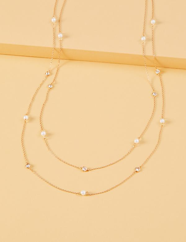 Long Faux Pearl & Stone Necklace