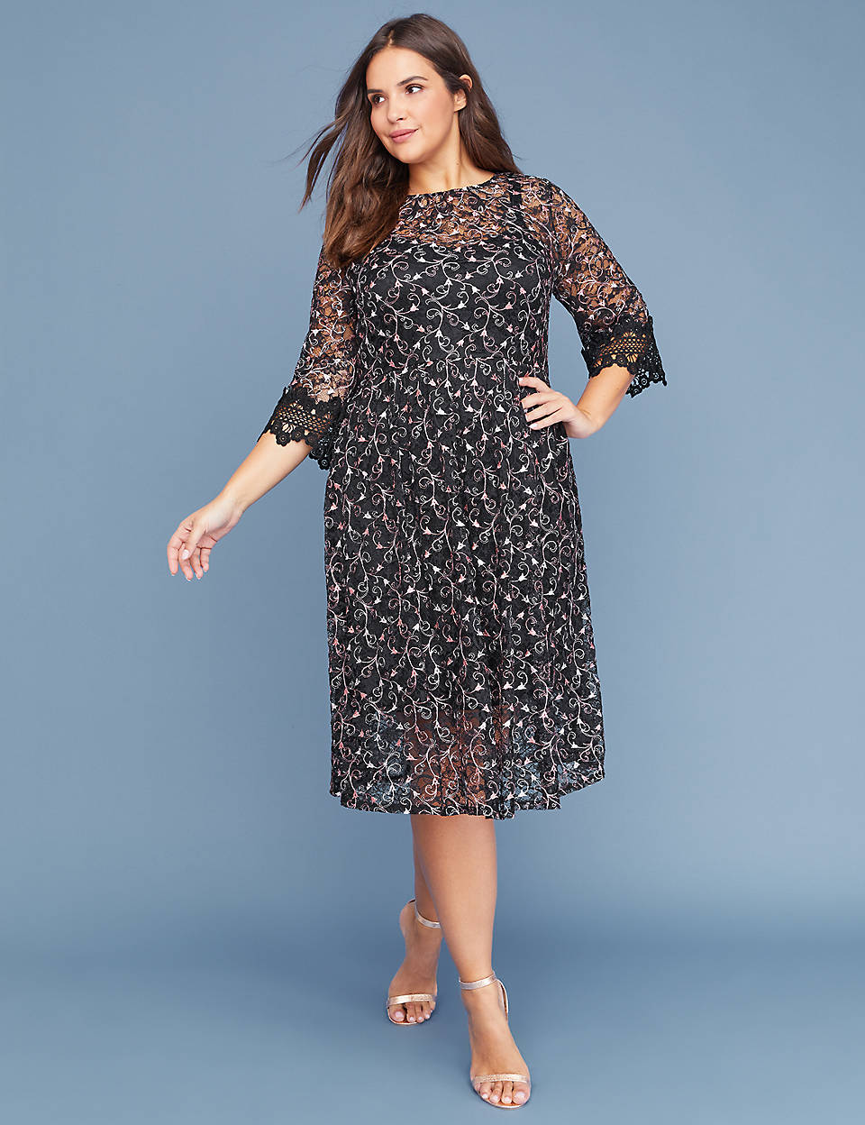 d81e355a8a3 Embroidered Lace Midi Fit   Flare Dress