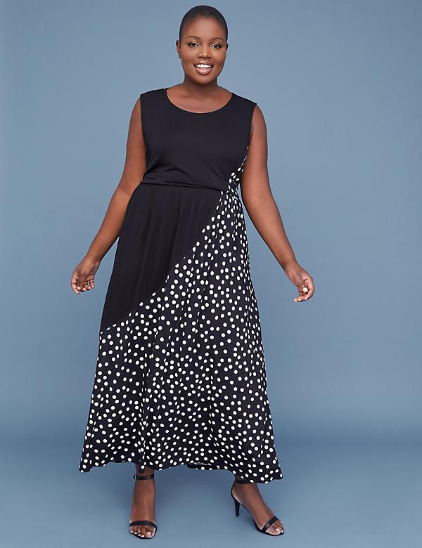 Polka Dot Jersey Maxi Dress