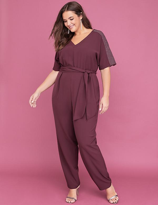 Studded Dolman Sleeve Jumpsuit
