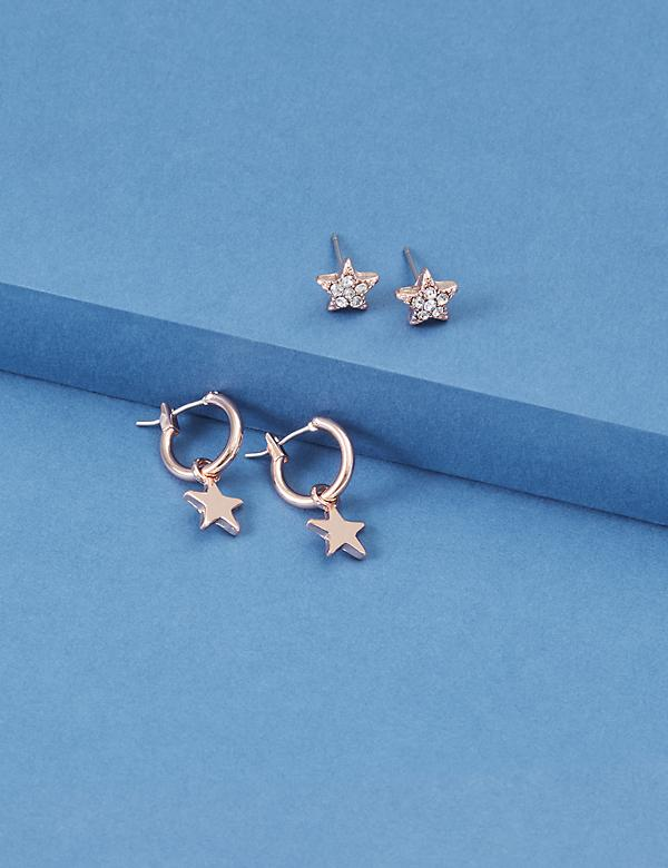 Star Huggie & Stud Earrings Set