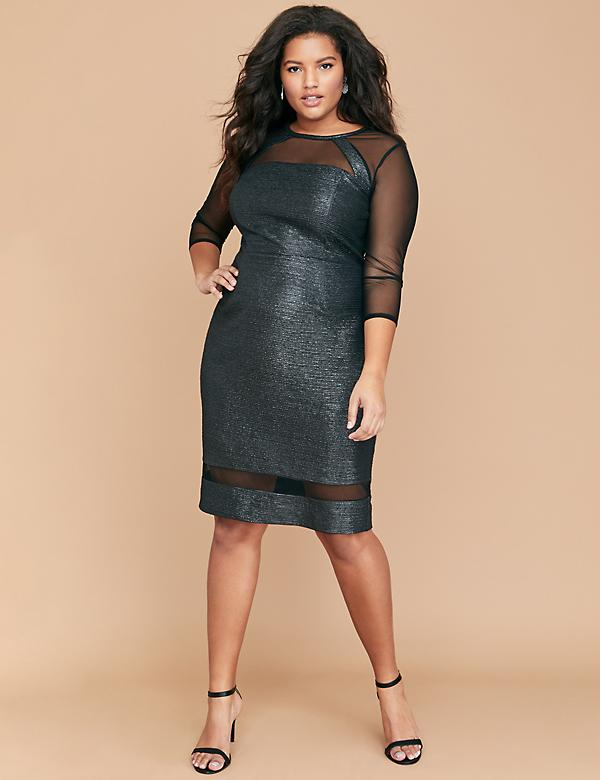 Foil Sheath Dress with Mesh