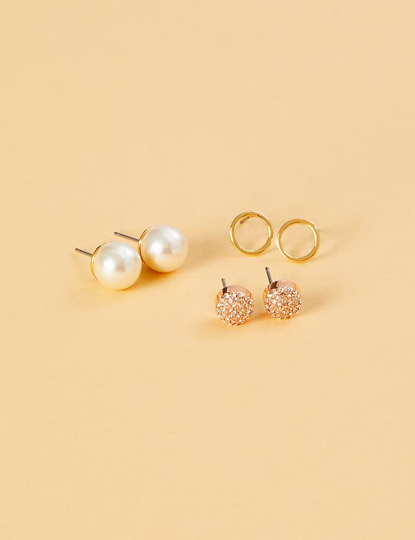 Faux Pearl and Fireball Stud Earrings 3-Pack
