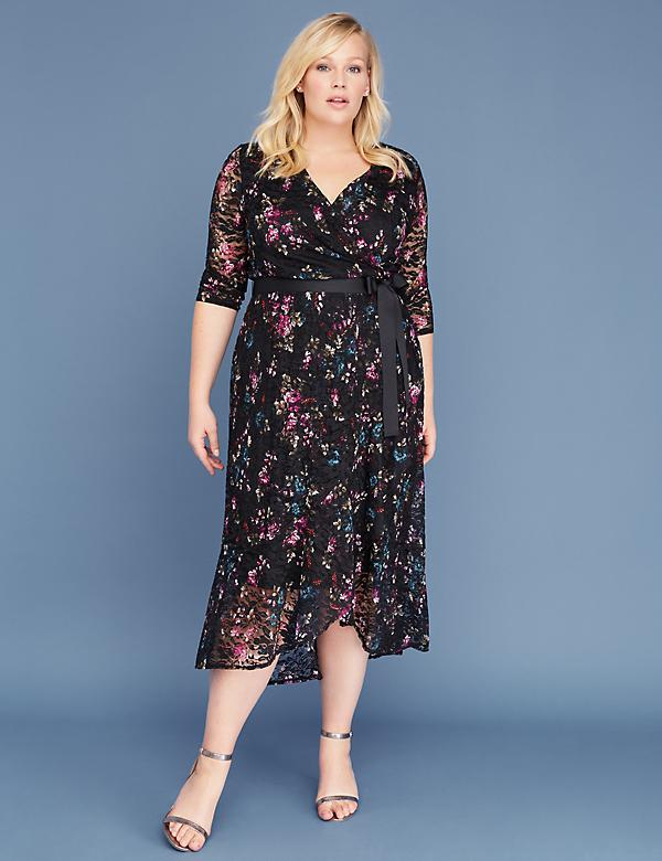 Floral Lace Faux Wrap Midi Dress