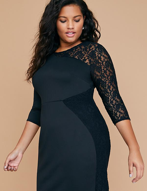 Scuba & Lace Sheath Dress