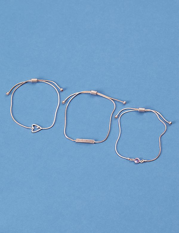 Awareness 3-Row Adjustable Bracelet Set