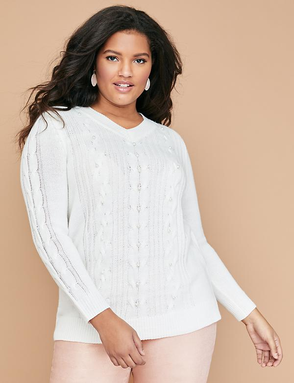 Faux Pearl Cable Sweater