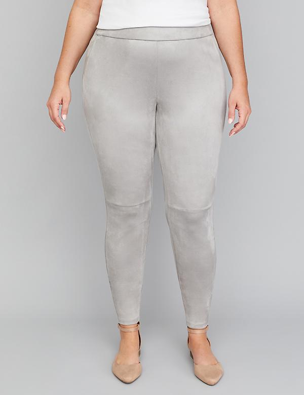 Faux Suede Legging - Gray