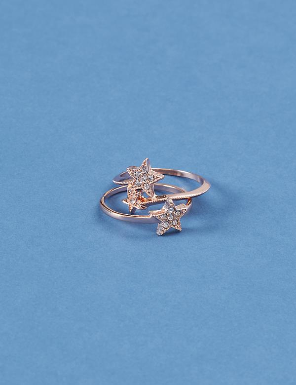 2-Stack Pave Star Ring Set