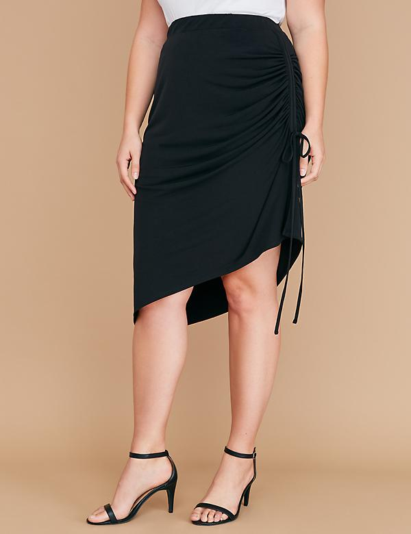 Side-Ruched Midi Skirt