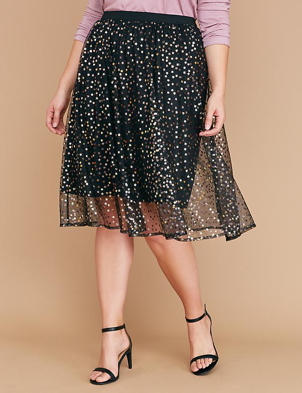 Star Mesh Full Midi Skirt