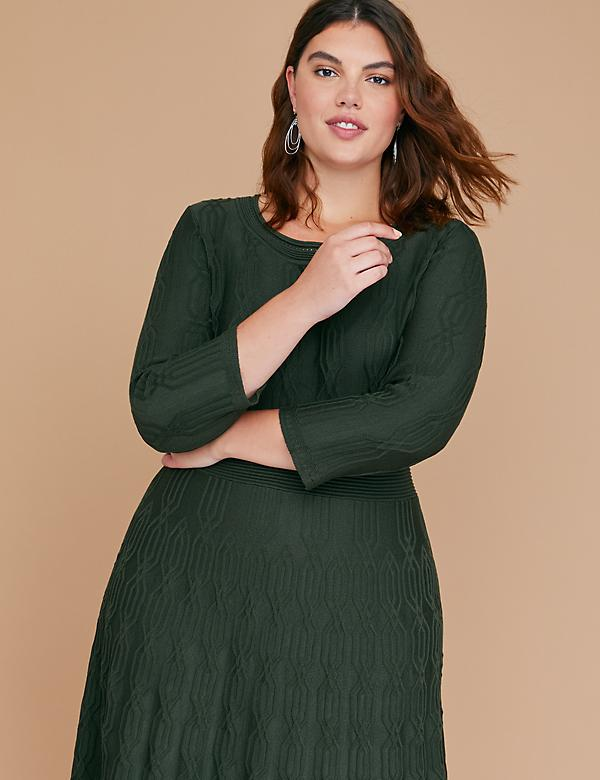 3/4 Sleeve Textured Fit & Flare Sweater Dress