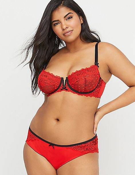 Spot Lace Unlined Balconette Bra