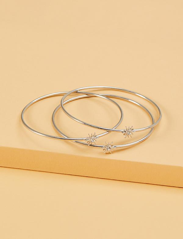 3-Row Starburst Bangle Set