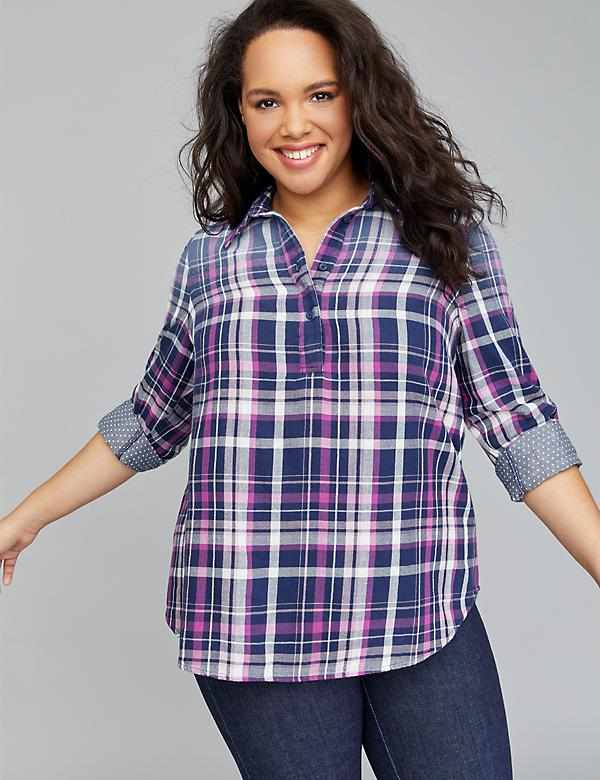 Plaid Double Face Popover Shirt