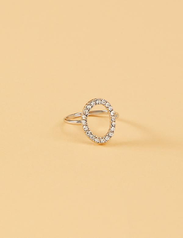 Pave Oval Cutout Ring